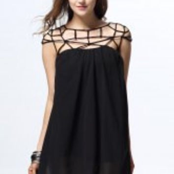 Black Cut Out Chiffon Mini Dress