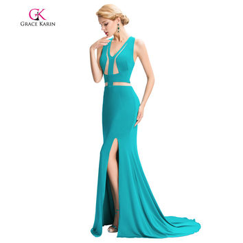 Grace Karin Mermaid Long Evening Dress 2017 Turquoise Evening Gowns Backless V Neck High Split Robe De Soiree Party Prom Dresses