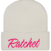 Ratchet Embroidery Cuffed Beanie Skull Cap Hip Hop Hat #Ratchet White/Pink