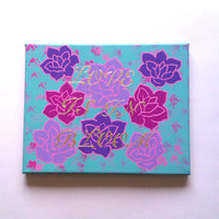 Love is in bloom acrylic canvas painting for girls room or home decor