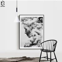 Modern Girl Portrait Canvas Art Posters and Prints Painting, Black White Wall Pictures for Home Decoration, Wall Decor