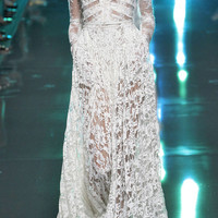 White Lace Long Sleeve Gown by Elie Saab - Moda Operandi