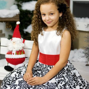 Black Velvet Flocked Damask on White Taffeta Dress with Red Sash (Girls 2T - Size 12)