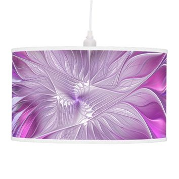 Pink Purple Flower Passion Abstract Fractal Art Hanging Lamp