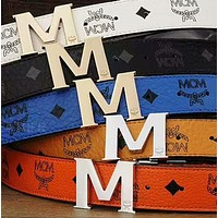 MCM Woman Men Fashion Smooth Buckle Belt Leather Belt