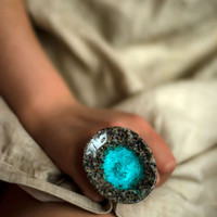 Extravagant ring turquoise ring real sea sand Extraordinary jewelry Nature inspired bijoux Huge ring Adjustable size Rare original design