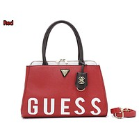 """""""GUESS"""" spring women's fashion wild simple stitching letter shoulder bag Red"""