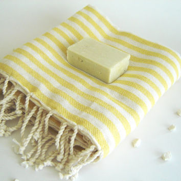 Turkish Bath Towel: Handwoven Peshtemal, Bath, Beach, Spa Towel, Yellow, summer coverups, bridesmaid