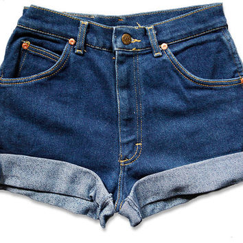 Dark High Waisted Jean Shorts | Bbg Clothing