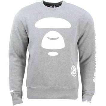 Aape By A Bathing Ape Men AAPE Moonface Team Sweater gray