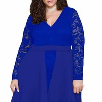 Royal Blue Floral Lace Patchwork Flared Curvy Dress