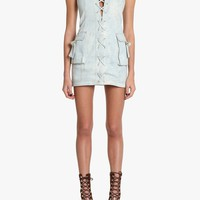Cotton denim mini dress | Women's dresses | Balmain