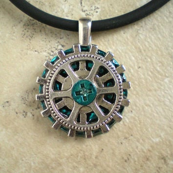 Gear Necklace: Steampunk Jewelry - Mens Necklace - Mens Jewelry - Valentine - Men's Gift - Boyfriend Gift - Industrial Jewelry