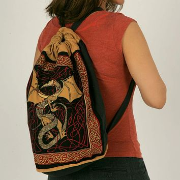 Cotton Bohemian Hippie Celtic Dragon Backpack Bag Shopping Work Bag Blue Red
