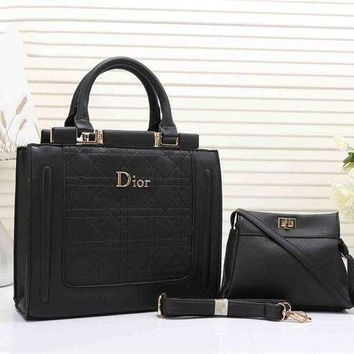 Kalete Dior Women's Leather Handbag Tote Satchel Shoulder Bag Two piece Set H-YJBD-2H