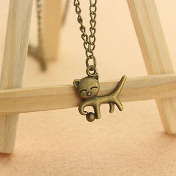 lovely little cat necklace--antique bronze charm necklace,boys girls gift,alloy chain