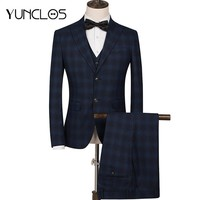 YUNCLOS 2018 Men Suit 3 Pieces Suits Slim Plaid Printed Fit Wedding Suits For Men Business Casual Style Men Tuxedos