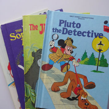 Vintage Set of 4 Walt Disney Hardback Children's Book 1970s