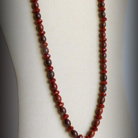 Red Agate, Jasper and Sterling Silver Handmade Necklace, Statteam