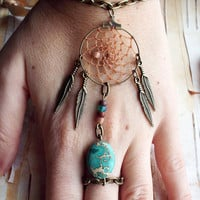 Bohemian Dreamcatcher Slave Bracelet Boho Hippie Stone Tribal Gypsy Antiqued Brass Twilight Dream Catcher Native American Inspired