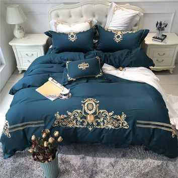 80S Egyptian cotton gold embroidered luxury royal bedding sets queen king size deep green bed linen duvet cover set  pillowcase