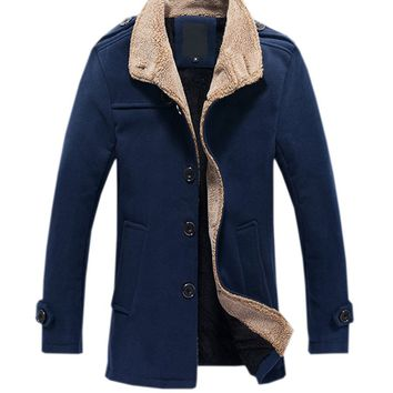 Streetstyle  Casual Men Big Size Faux Fur Collar Single Breasted Coat