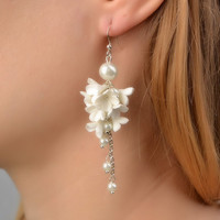 Handmade wedding earrings with white polymer clay flowers and glass beads
