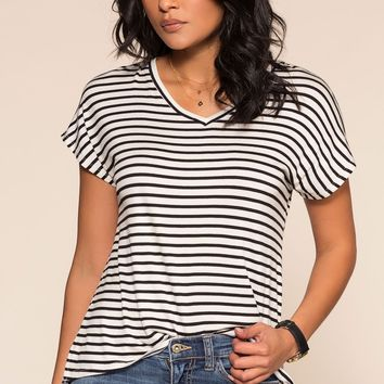 Tommi Striped Tee - Black