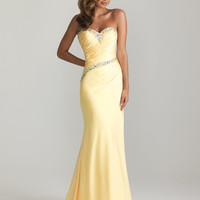 Yellow Gathered Chiffon Beaded Strapless Sweetheart Prom Dress - Unique Vintage - Prom dresses, retro dresses, retro swimsuits.