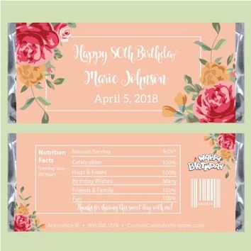 Floral Beauty Birthday Candy Bar Wrappers