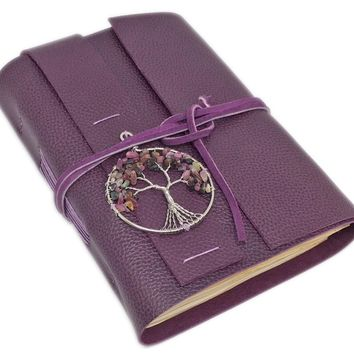 Leather Journal with Tea Stained Paper, Purple Leather, Tree of Life, Wedding, Prayer Journal, Wedding Guestbook, Leather Goods