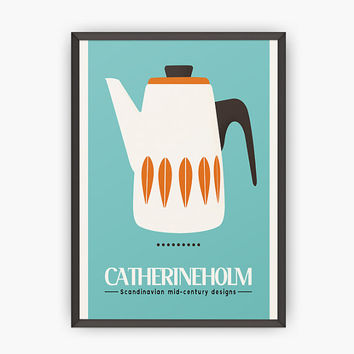 Scandinavian Kitchen print - Mid century modern poster - Modern print  - Cathrineholm - Retro kitchen print - Kitchen posters - Home decor