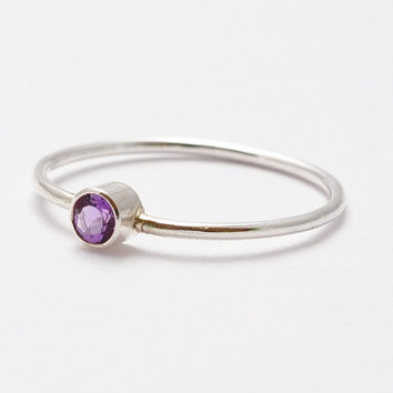 Amethyst Ring Gemstone - Simple Amethyst Ring- African Violet Sterling Silver Amethyst Ring- Delicate Skinny Ring- February Birthstone