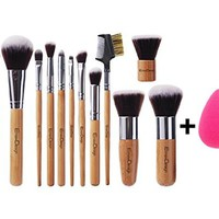 EmaxDesign 12+1 Piece Makeup Brush Set,12 Pcs Professional Bamboo Handle Foundation Blending Blush Eye Face Liquid Powder Cream Cosmetics Brushes & 1 EmaxBeauty Blender Makeup Sponges