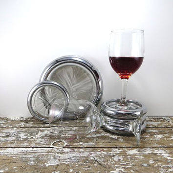 Silver Coaster Set Wine Bottle Coaster Cavalier Coasters Glass and Silver Housewarming Gift