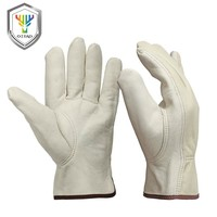 OZERO Garden Gardening Gloves Sheepskin Leather Security Protection Safety Workers Working Welding Waterproof Gloves For Man0013