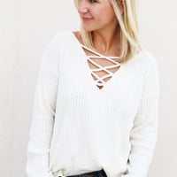 Vanilla Bean Lace-up Sweater