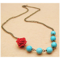 Cinnabar Flower Turquoise Necklace by turquoisecity on Etsy
