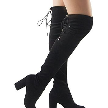 ROF Women's Thigh High Over The Knee Block Chunky Heel Pointy Round Toe Boots