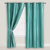 Blue Dupioni Grommet Top Curtain - World Market