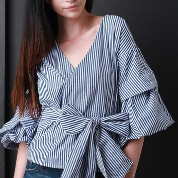 Striped Surplice Waist-Tie Ruched Statement Sleeves Blouse Top