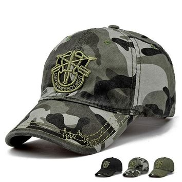 TUNICA New Fashion Army Camo Baseball Cap Men Women Tactical Washed Sun Hat Letter Adjustable Camouflage Casual Snapback Cap