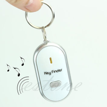 Free Shipping White LED Key Finder Locator Find Lost Keys Chain Keychain Whistle Sound Control
