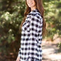 Flannel Button-Up-Black Check