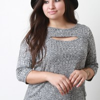 Ribbed Knit Front Cutout Quarter Sleeves Top