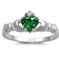 Sterling Silver Emerald Green CZ Claddagh Ring Size 4-12