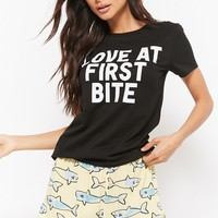 Love At First Bite Graphic Shark Print Pajama Set