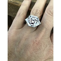 A Flawless 11.6CT Asscher Cut Russian Lab Diamond Engagement Ring