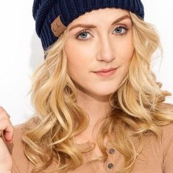 CC Luxe Knit Beanie - Navy