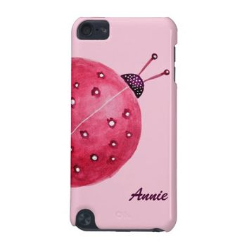 Custom Name Pretty Pink Watercolor Ladybug Kids iPod Touch (5th Generation) Cover